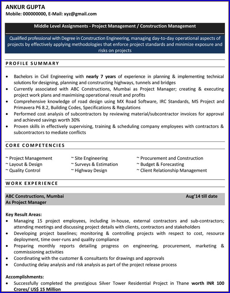 Resume Format Pdf For Engineering Freshers Download