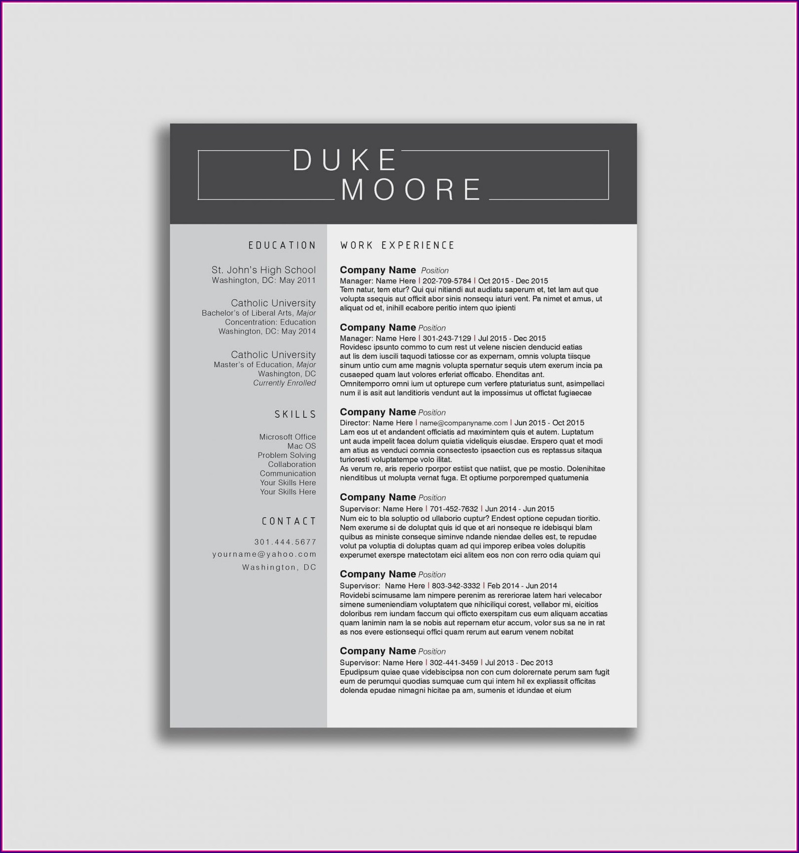 Resume Samples 2018 Free Download