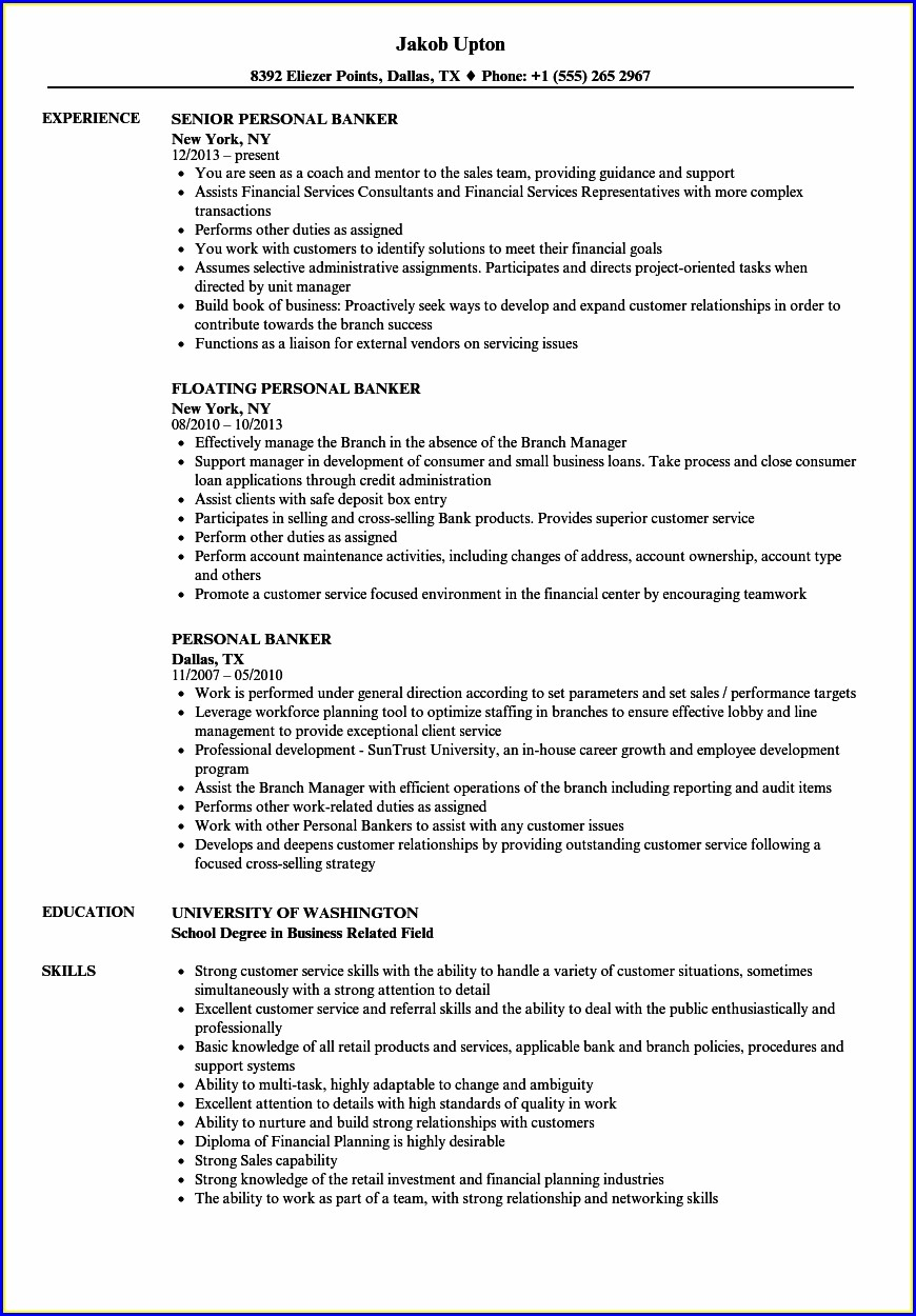 Resume Samples For Private Bankers