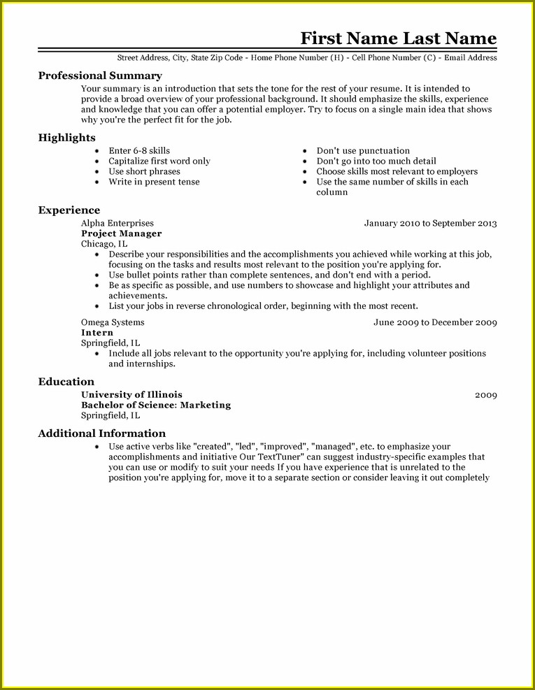Resume Templates For Experienced Professionals