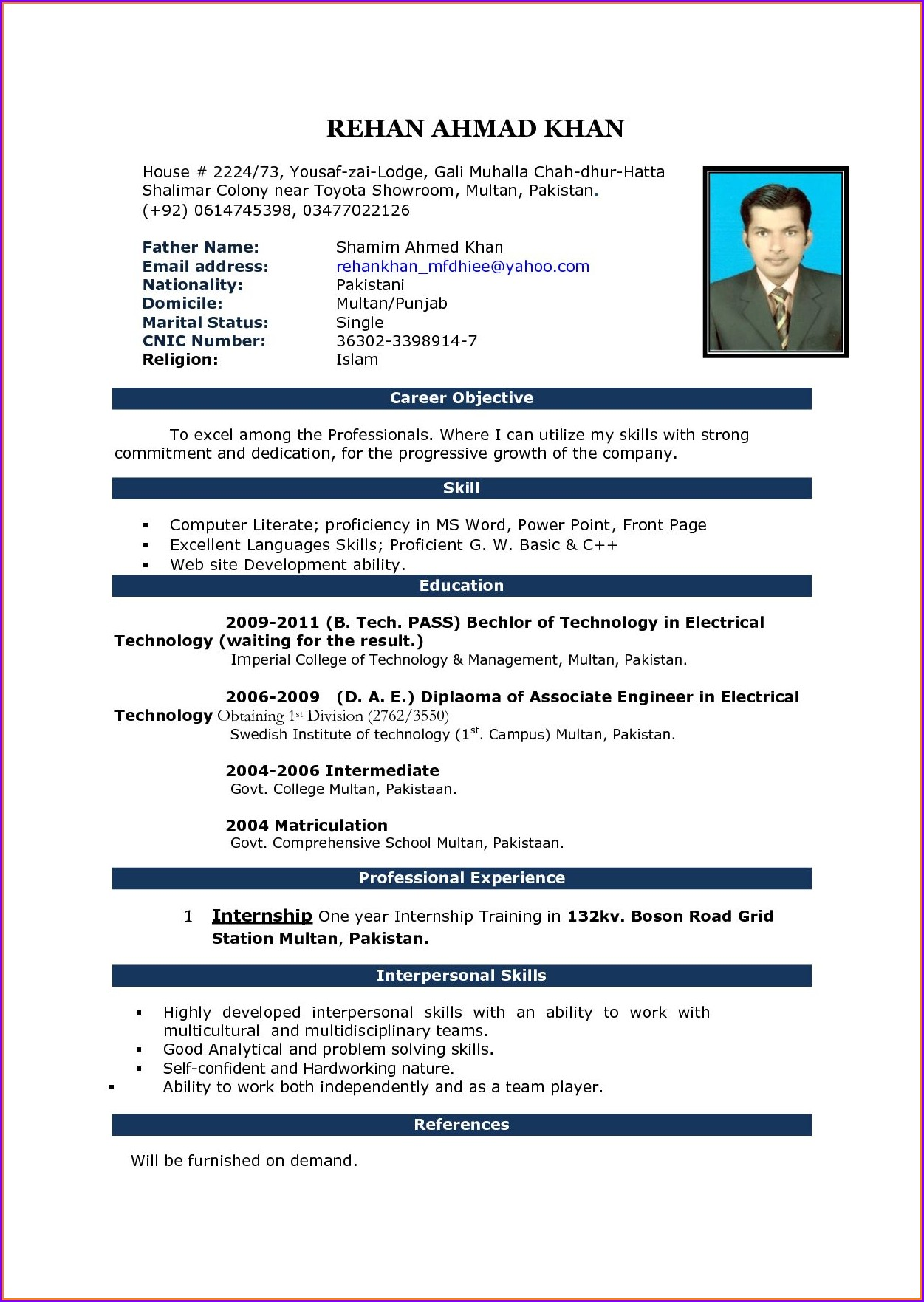Resume Templates Microsoft Word Free Download