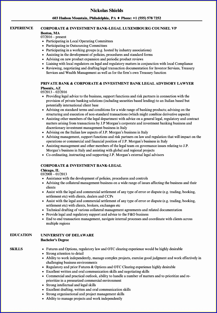 Sample Curriculum Vitae For Bankers