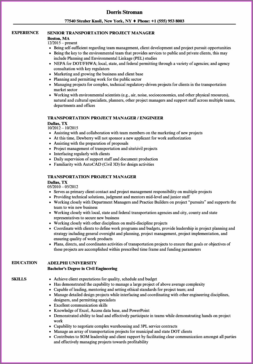 Sample Cv For Project Manager Civil