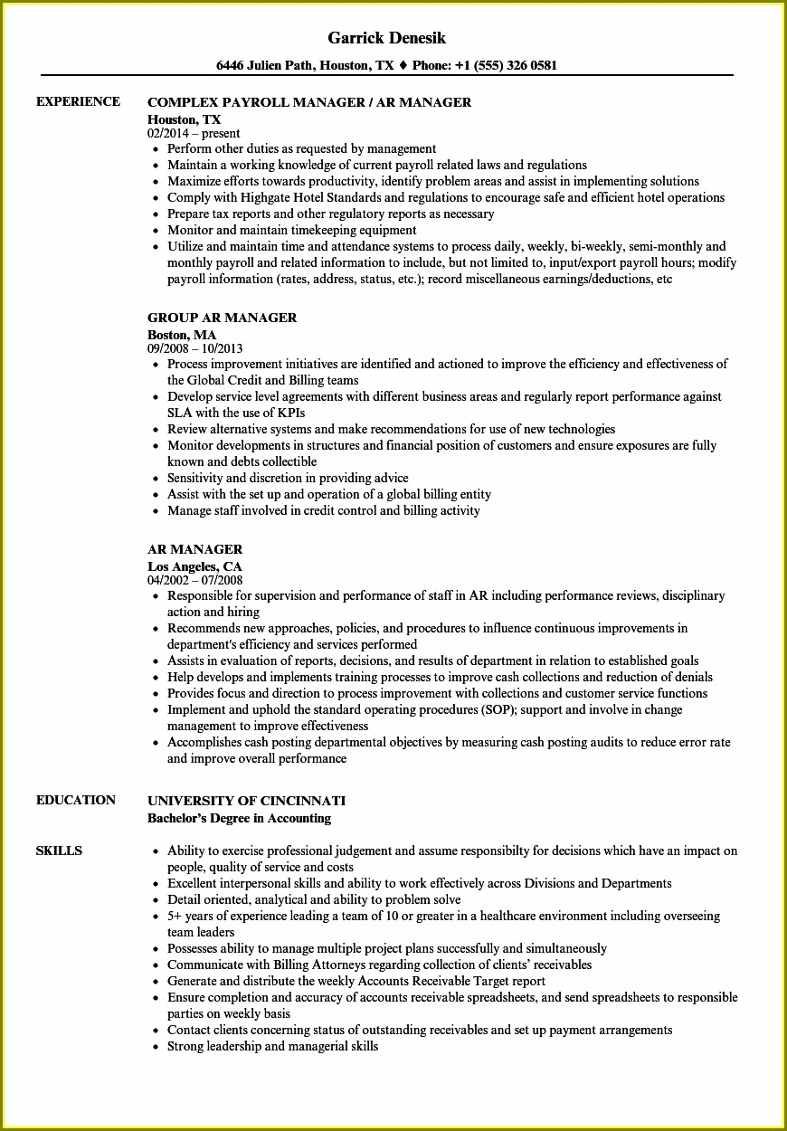 Sample Resume For Accounts Receivable Executive