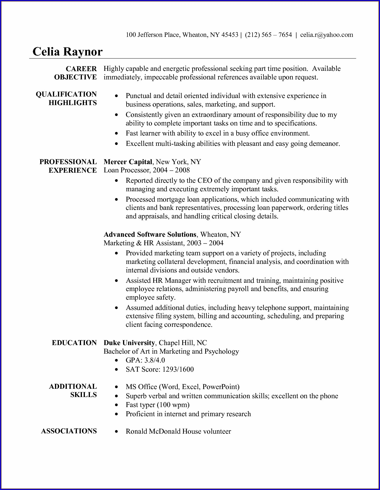 Sample Resume For Administrative Assistant With Experience
