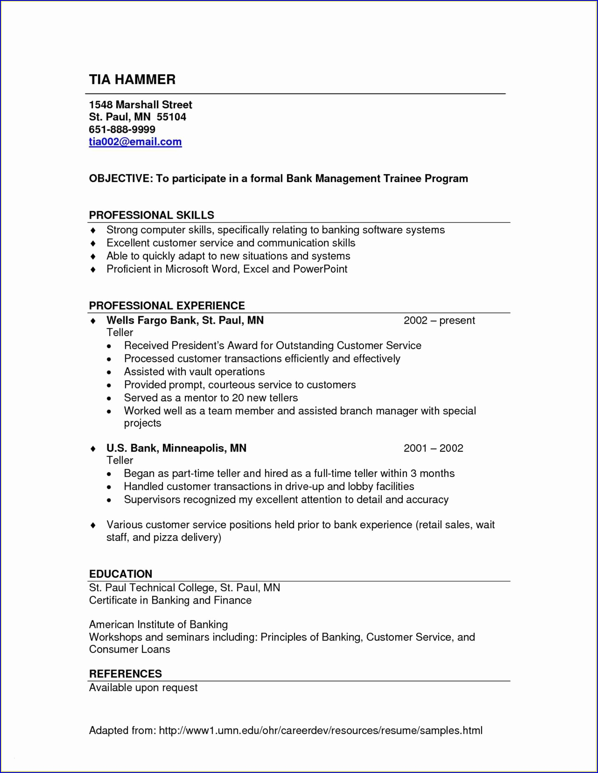 Sample Resume For Banking Experience