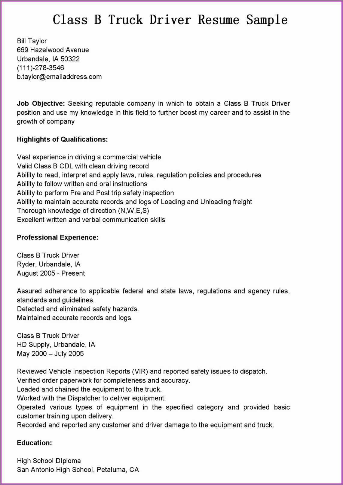 Sample Resume For Delivery Truck Driver