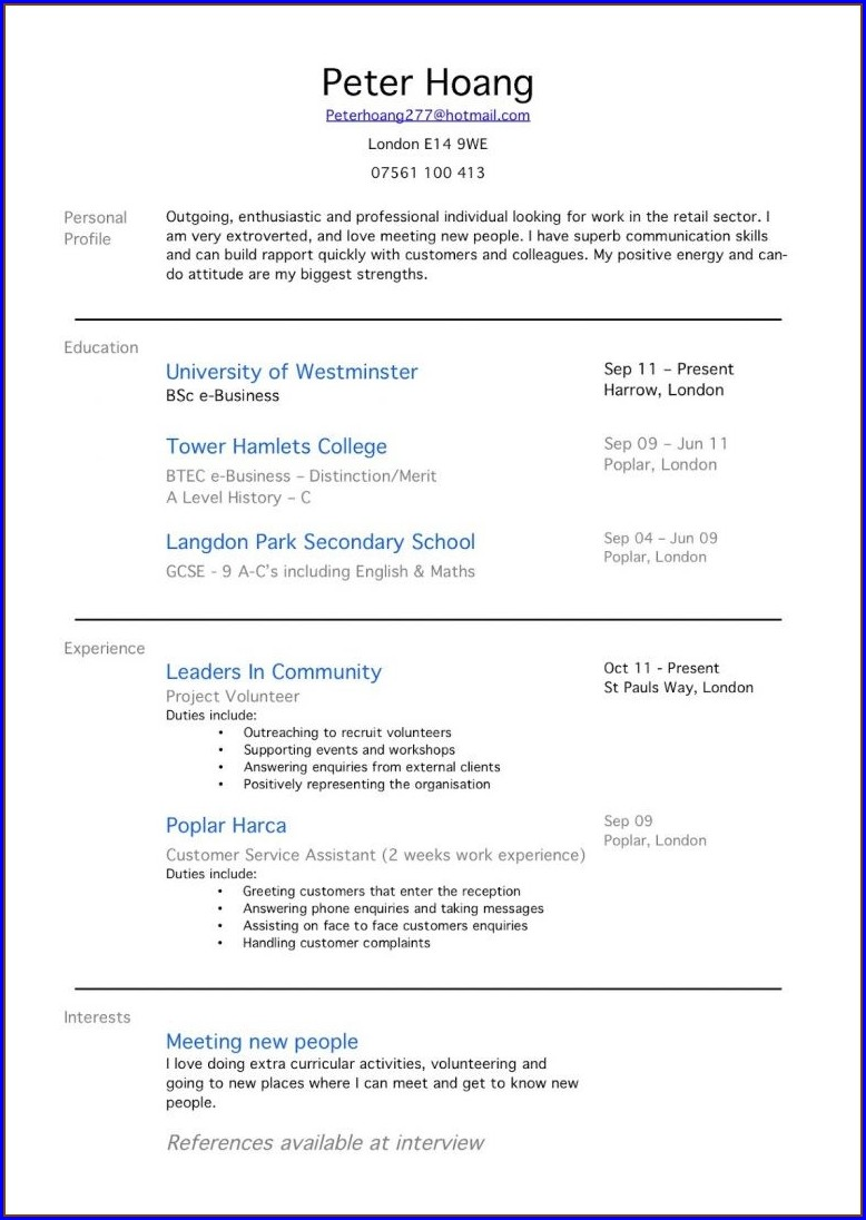 Sample Resume For Retail Jobs No Experience