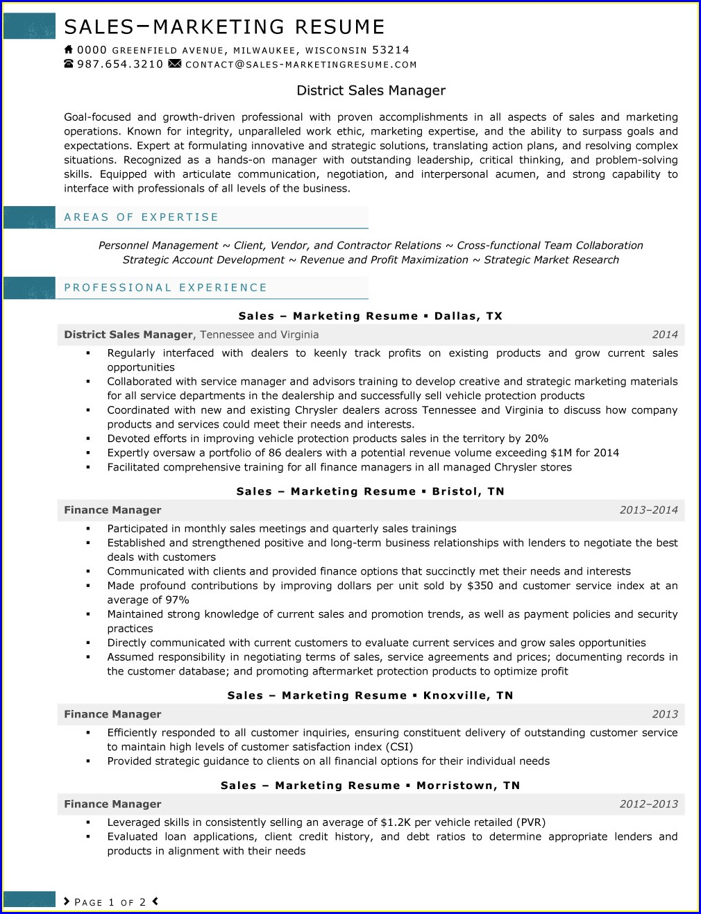 Sample Resume For Sales And Marketing Manager
