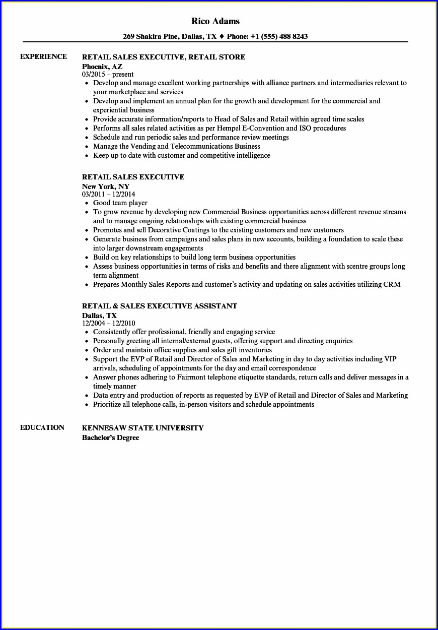 Sample Resume For Sales Executive Word Format Download