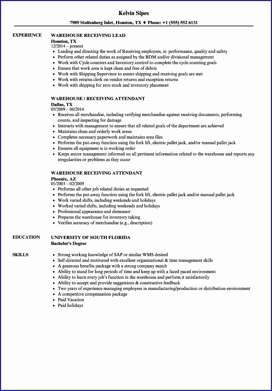 Sample Resume For Warehouse Executive