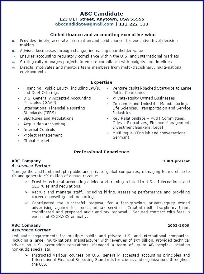 Sample Resume Format For Experienced Banking Professional