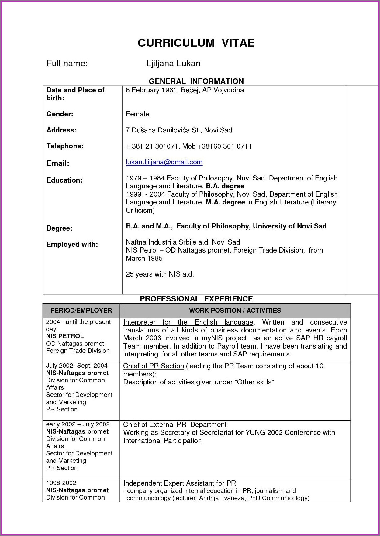 Sample Resume Format For Freshers Pdf Free Download