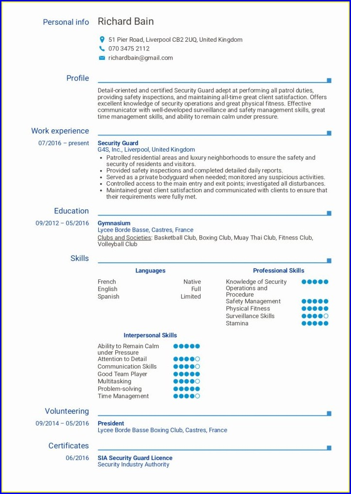 Sample Resume Format For Security Guard