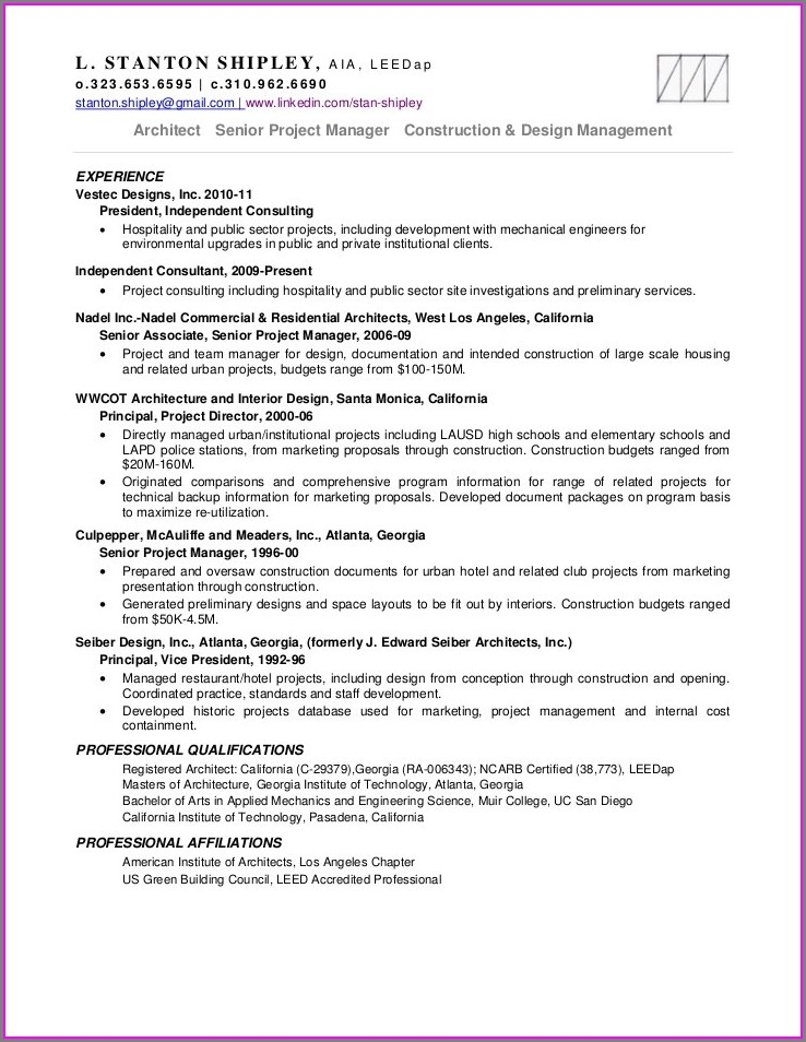 Sample Resume Senior Project Manager Construction