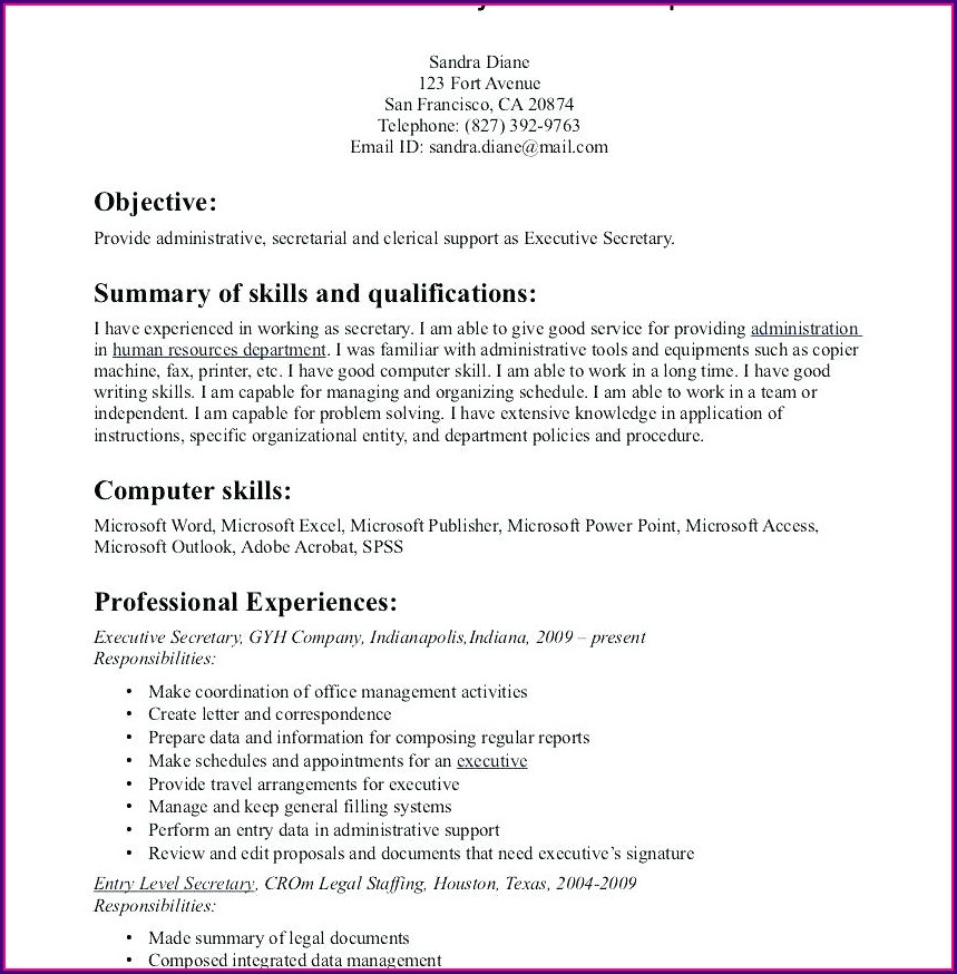 Sample Resumes For Office Jobs