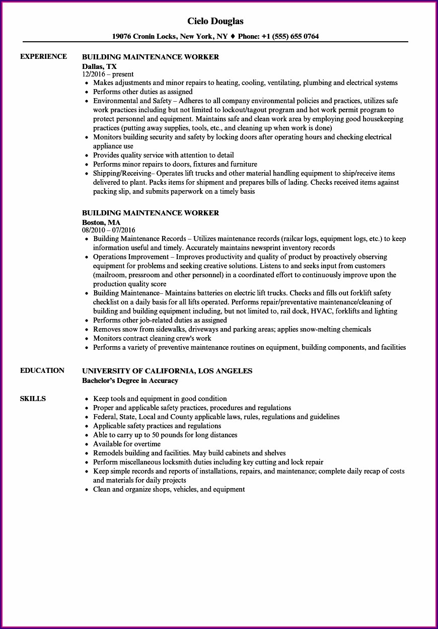 Samples Of Resumes For Maintenance Jobs