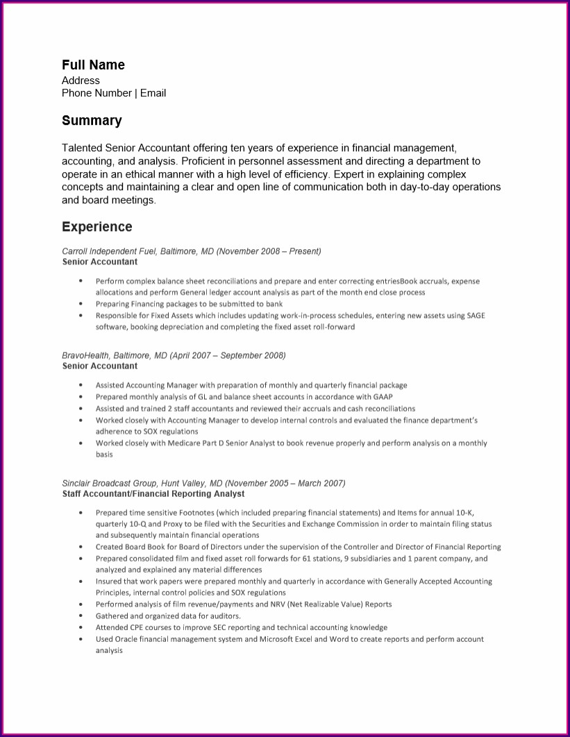 Senior Accountant Resume Format In Word Free Download