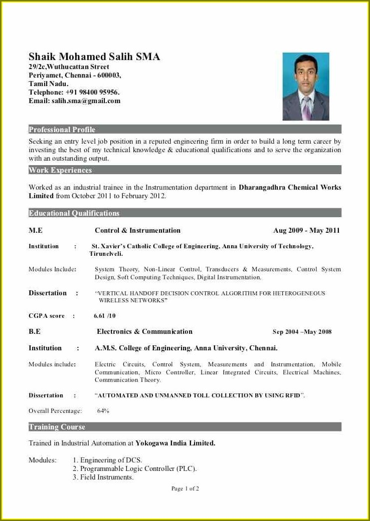 Standard Resume Format For Freshers Free Download Pdf