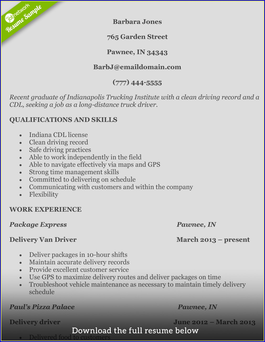 Truck Driver Qualifications Resume