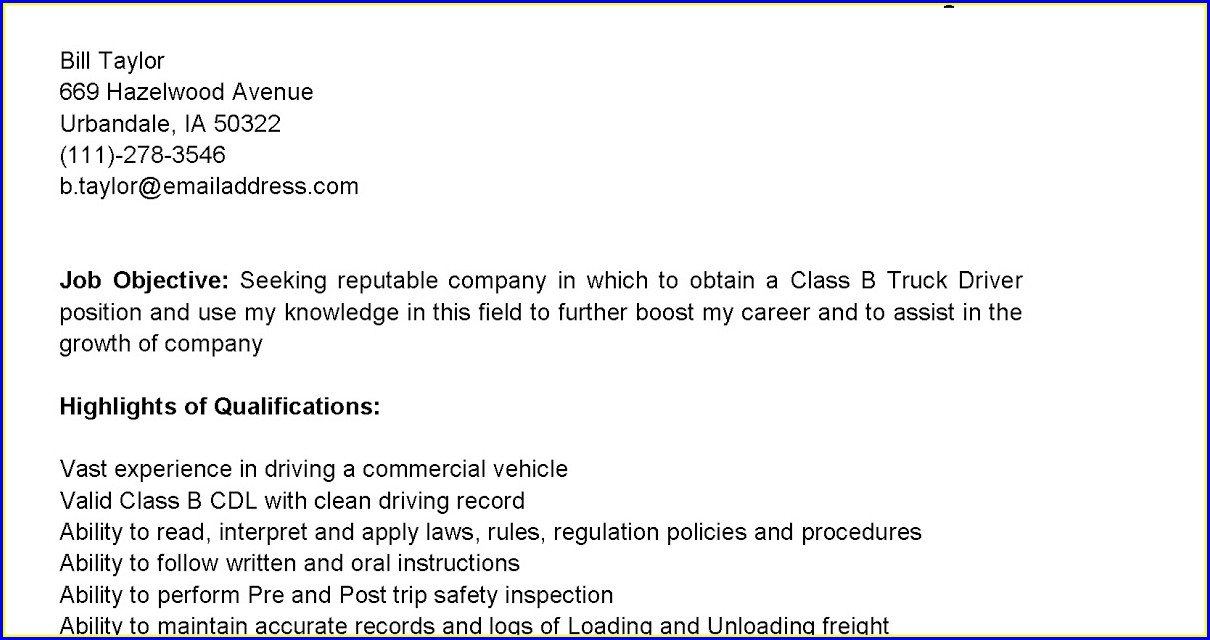 Truck Driver Summary Qualifications Resume
