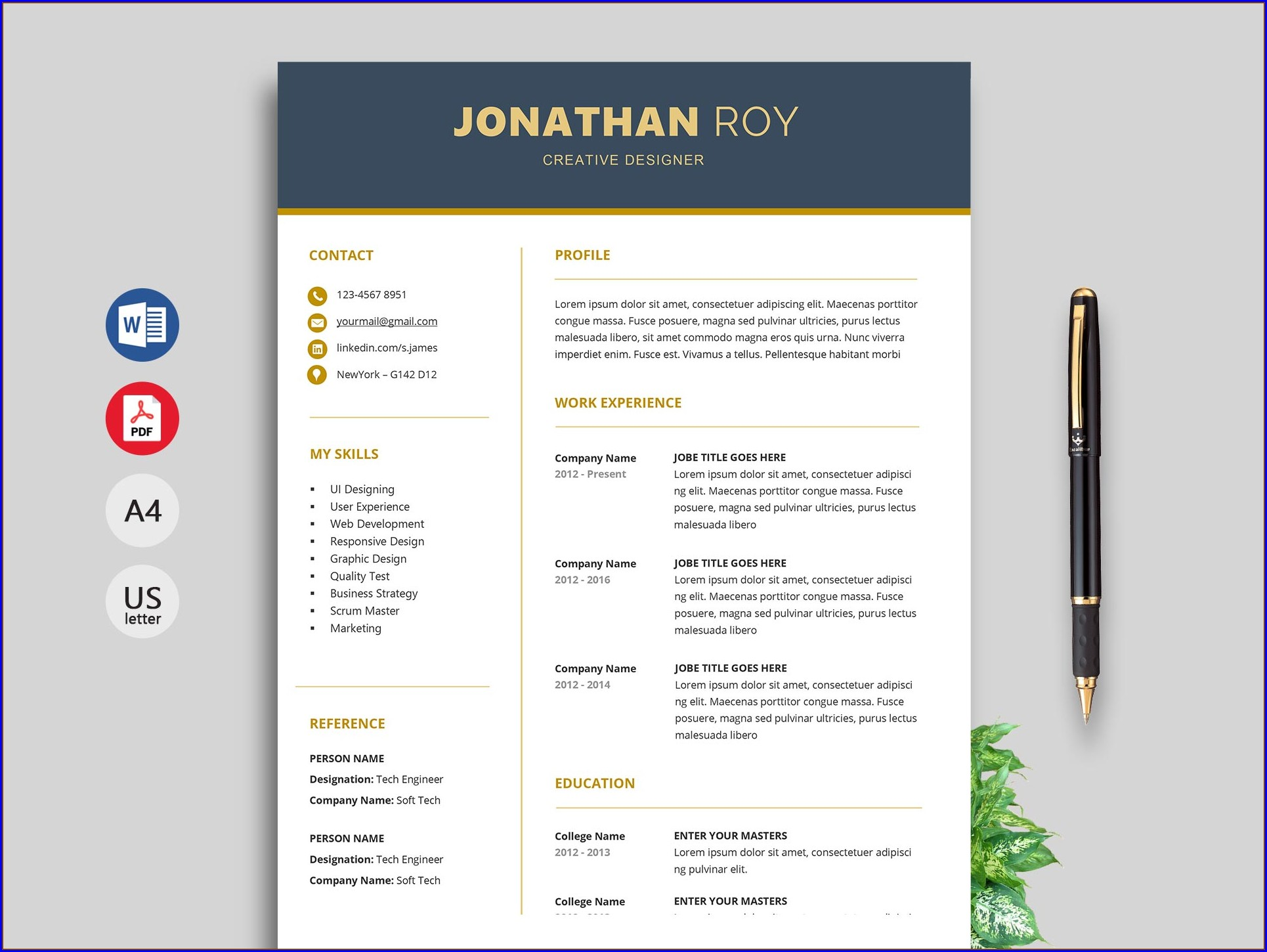 Word Attractive Resume Templates Free Download