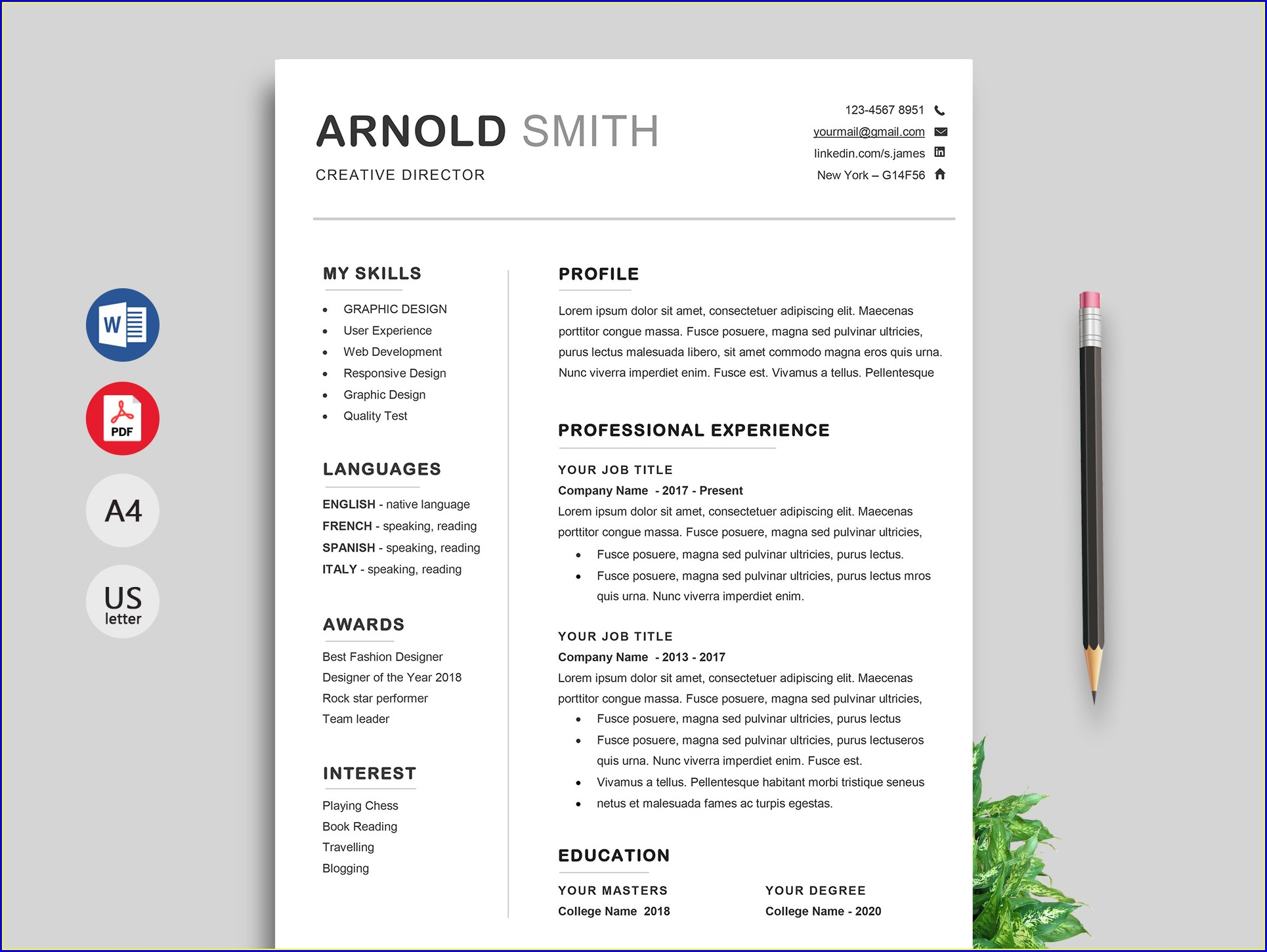 Word Doc Resume Template Free