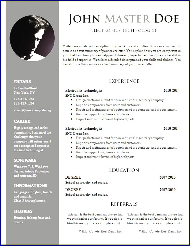 Word Document Cv Template Word Free Resume Templates