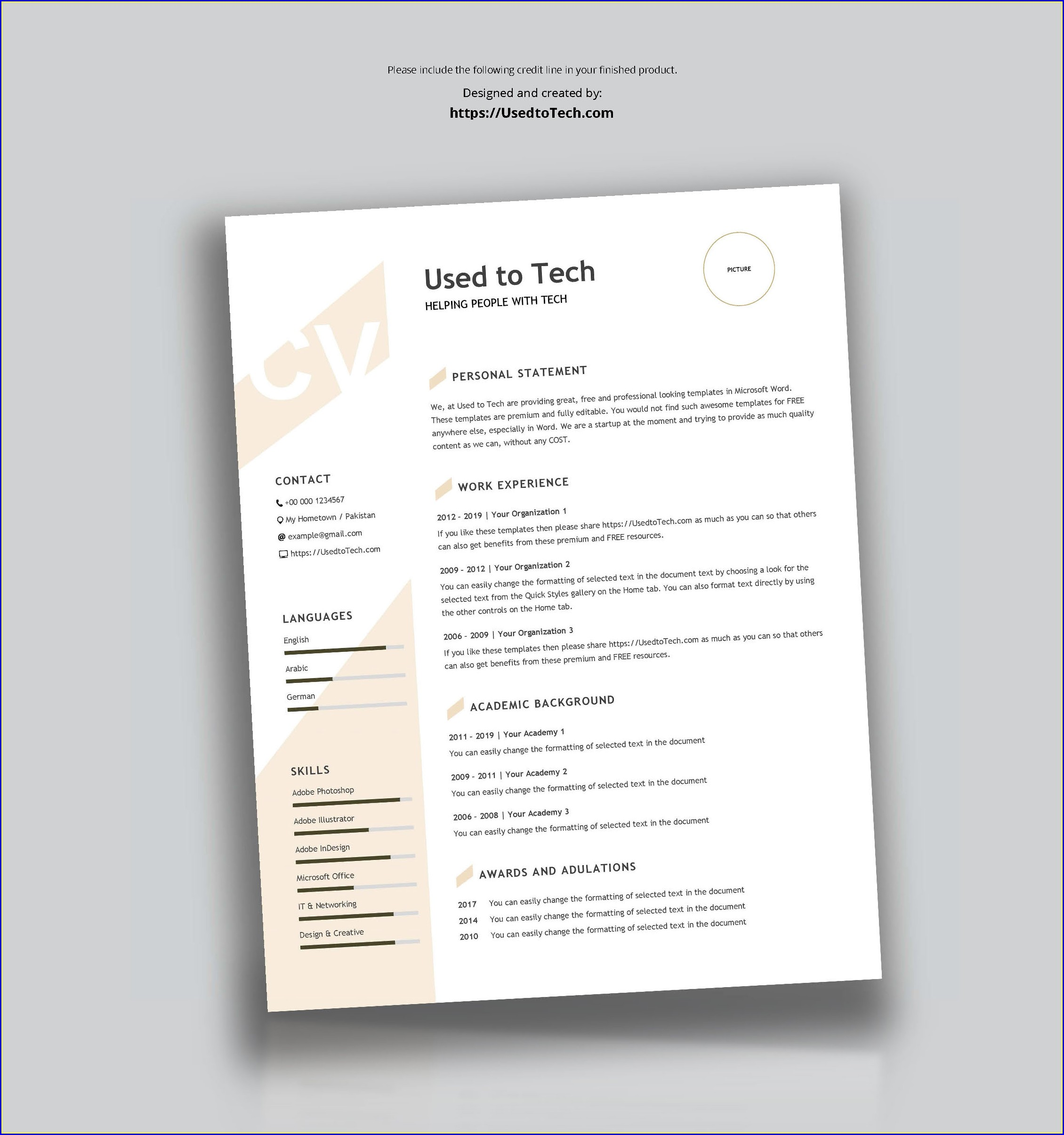 Word Document Modern Cv Template Word Free Download