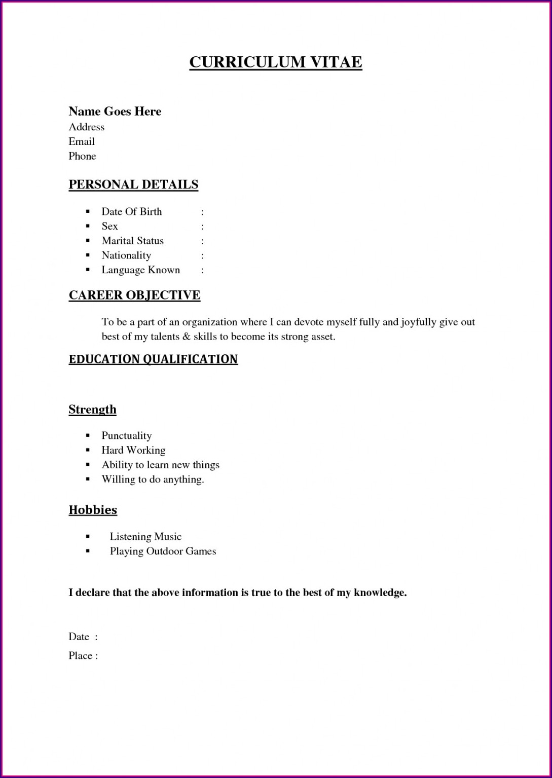 Word Document Simple Resume Format Download