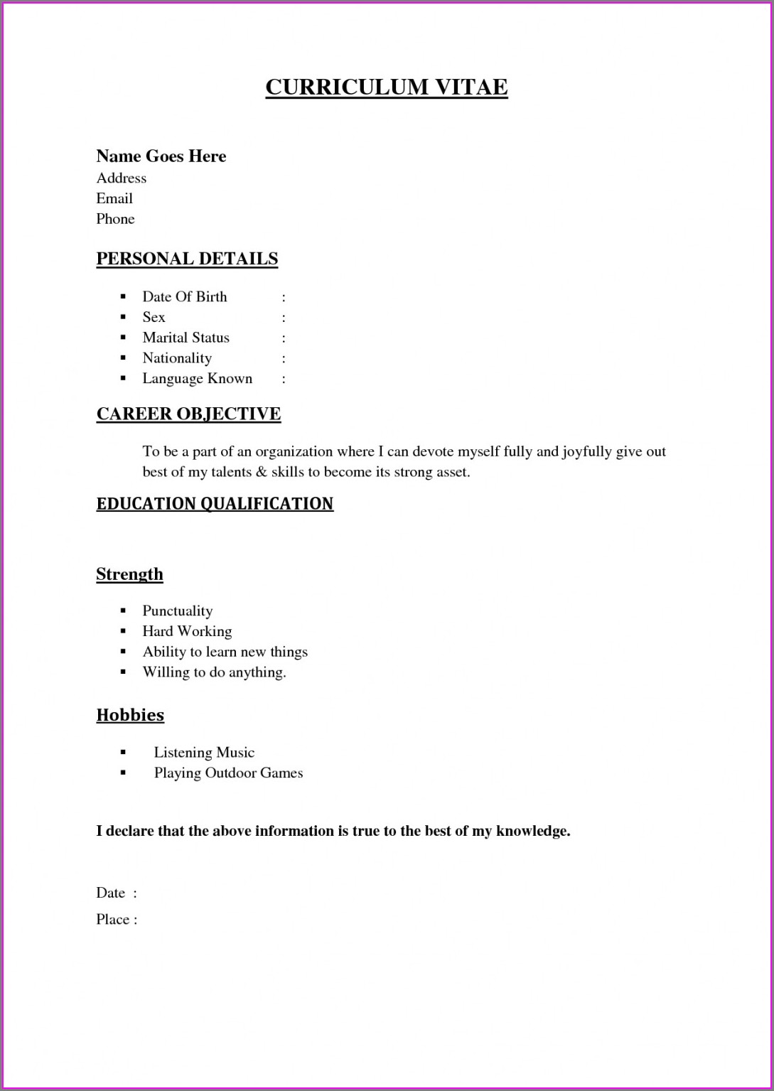 Word Document Simple Resume Format In Word Download