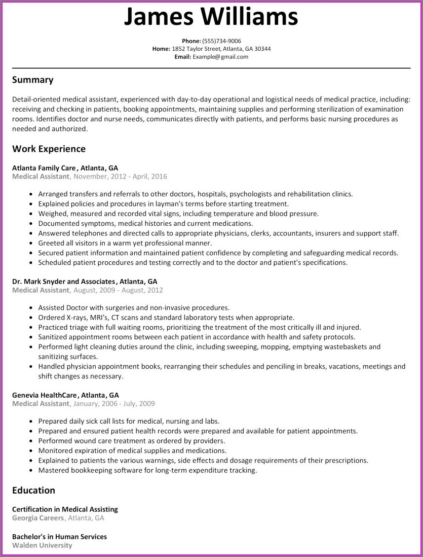 Word Document Simple Resume Format In Word File