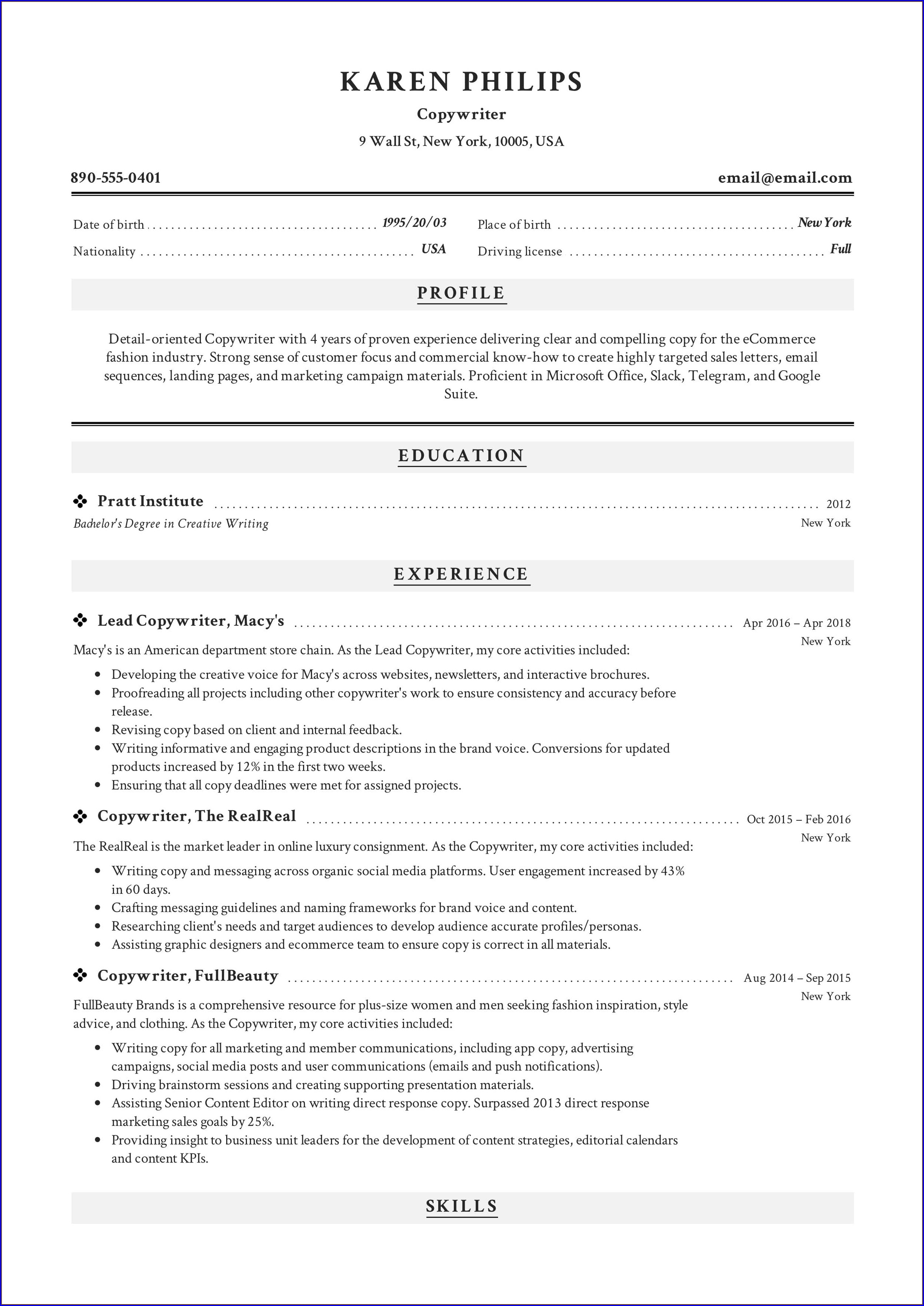 Writing Professional Resume Samples