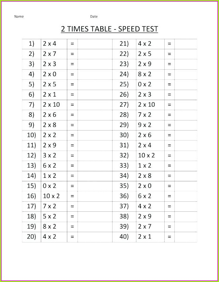 2 Times Table Worksheet Free Printable