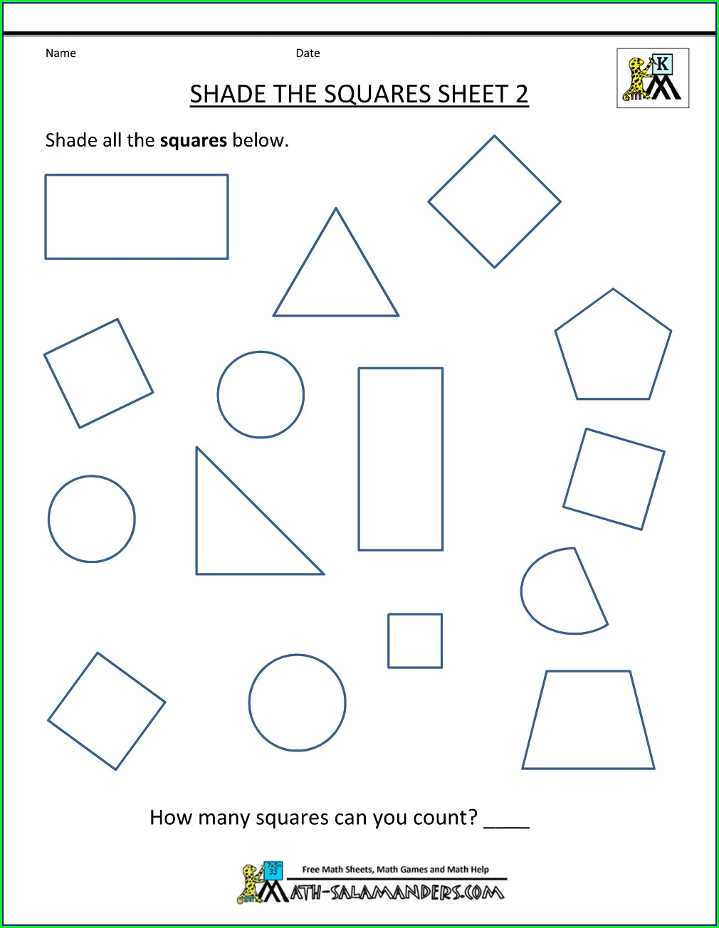 2d Shapes Worksheet For Kindergarten