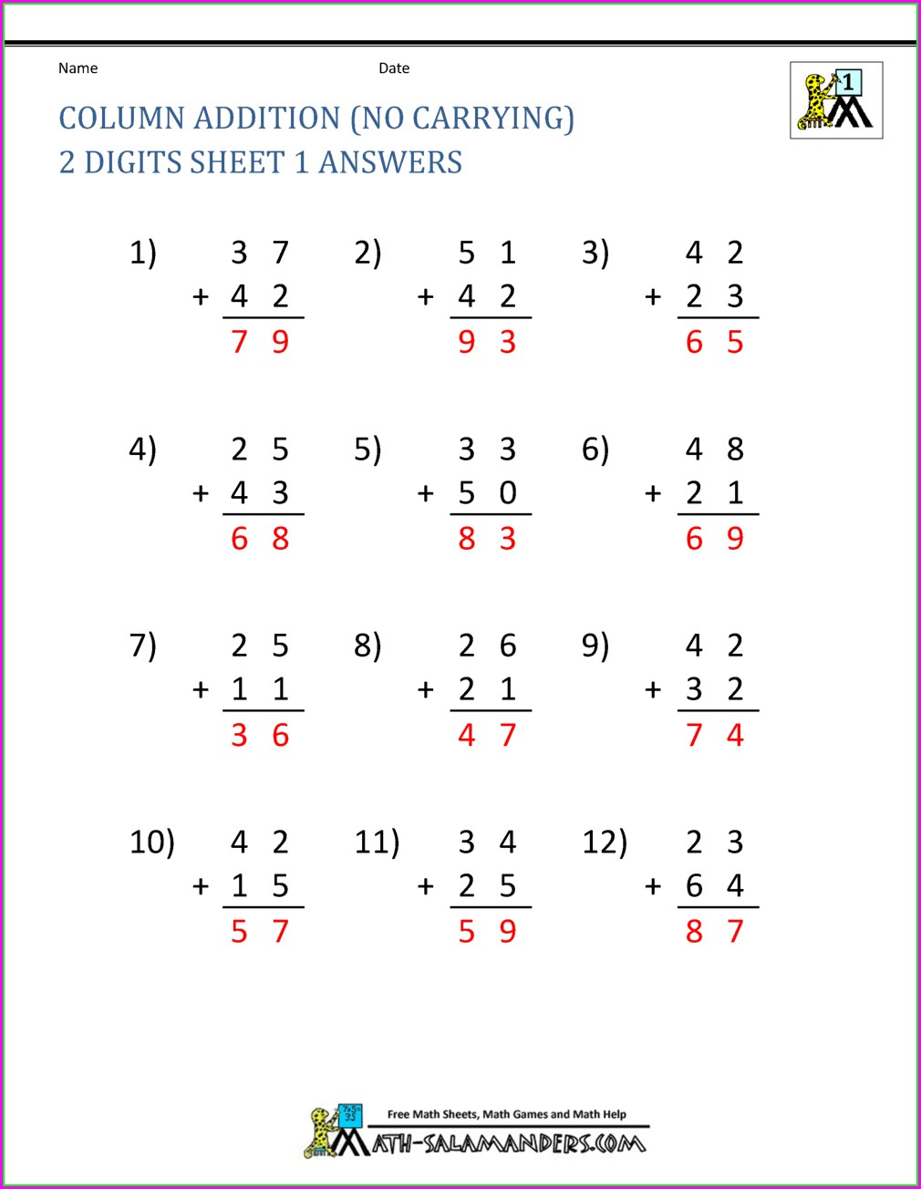 2nd Grade Addition Math Facts Worksheets