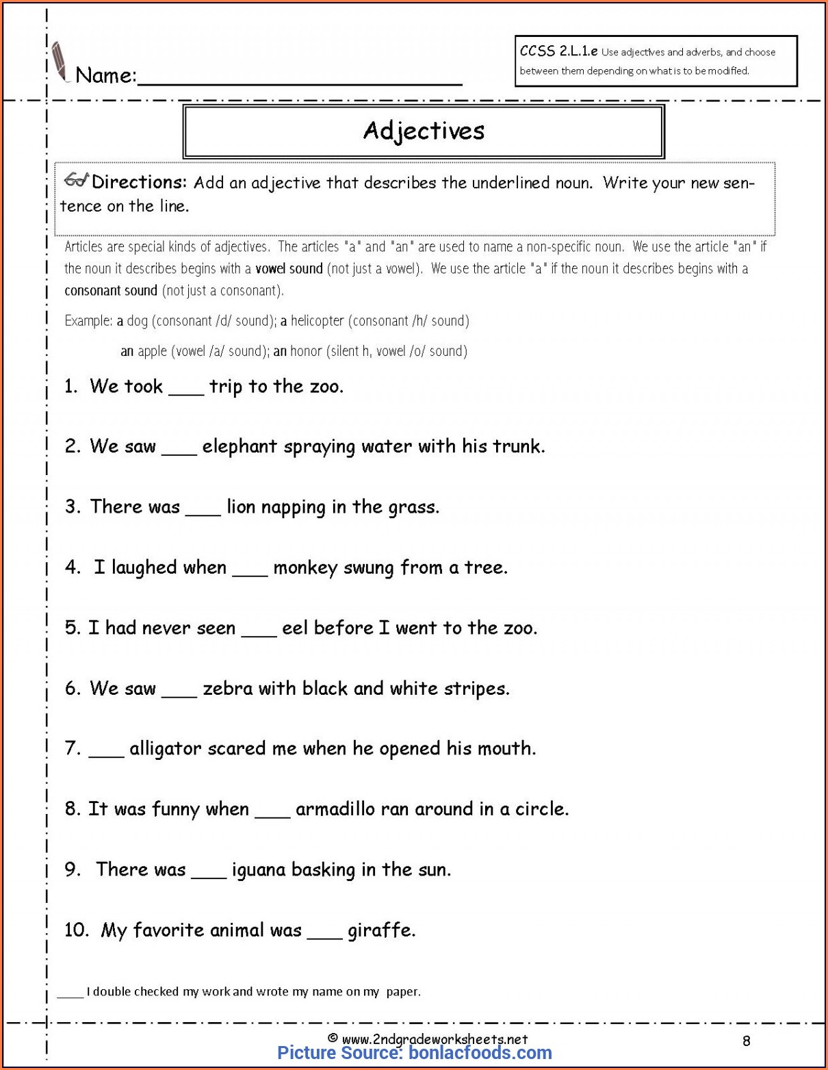 2nd Grade Adjectives Worksheets For Grade 2 Pdf