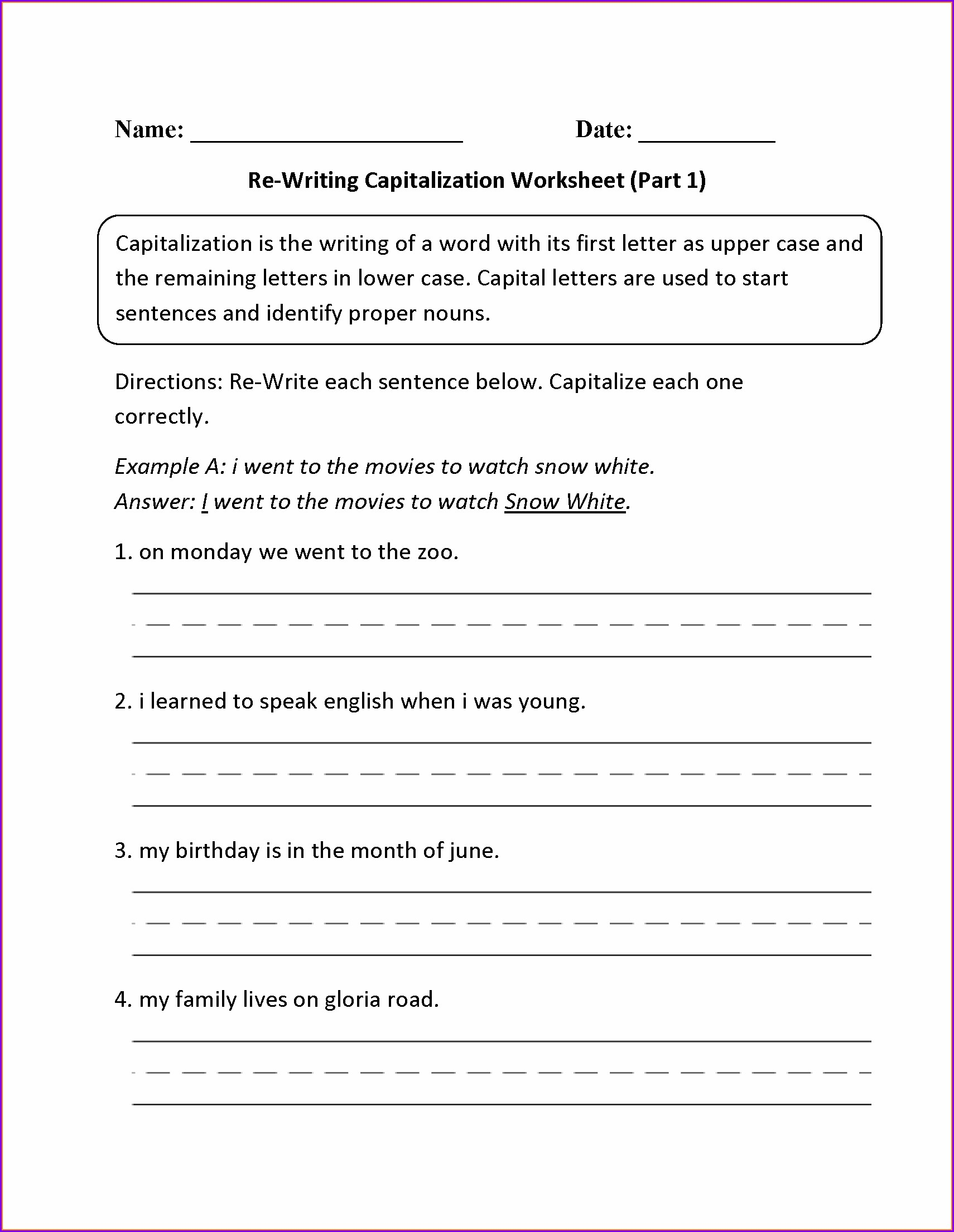 2nd Grade Capitalization And Punctuation Worksheets Pdf