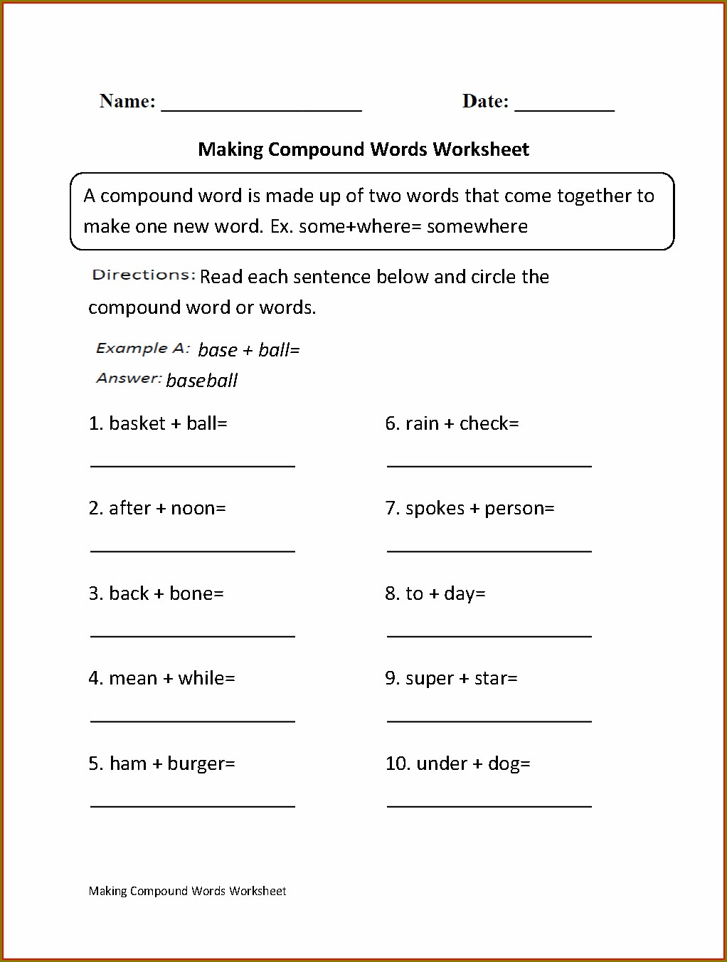 2nd Grade Compound Word Worksheet