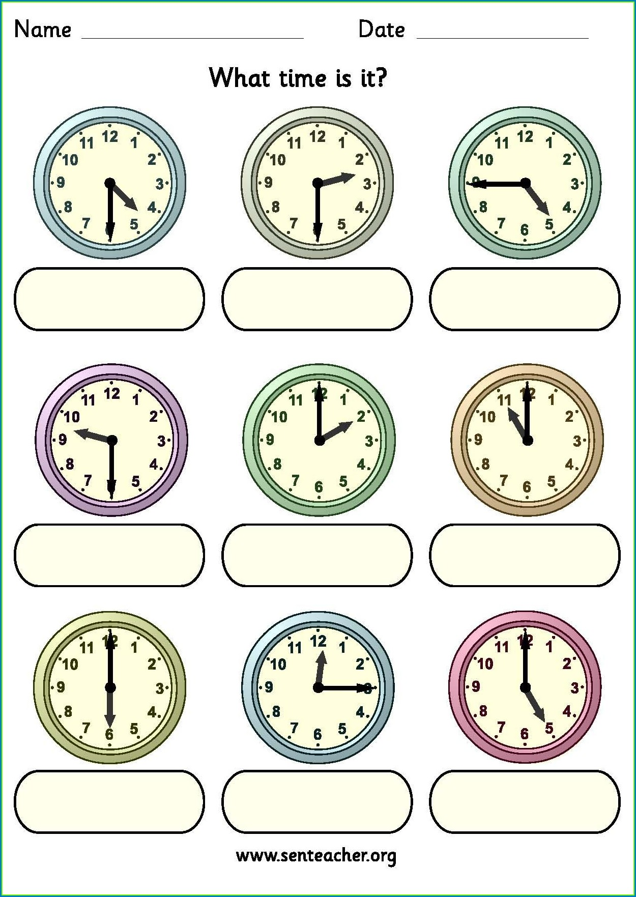 2nd Grade Digital Clock Worksheets