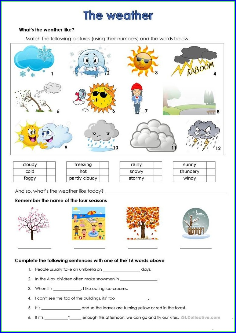 2nd Grade Free Printable Weather Worksheets