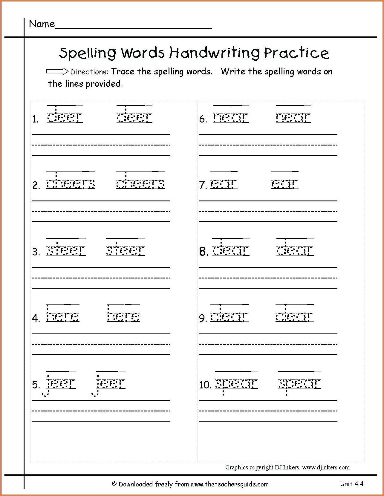 2nd Grade Handwriting Practice Worksheets
