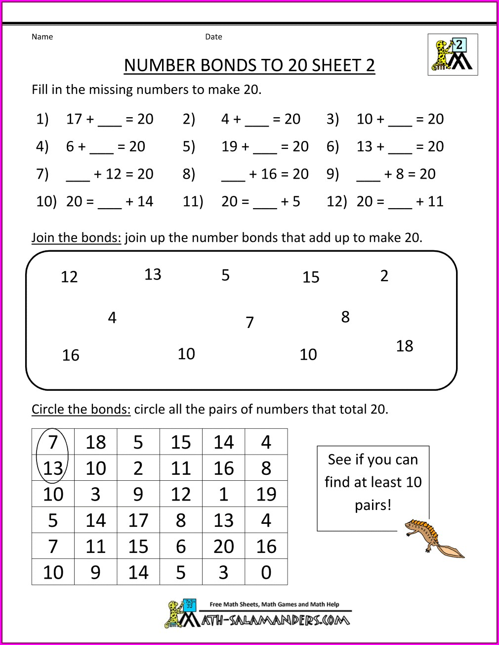2nd Grade Number Bonds Worksheets