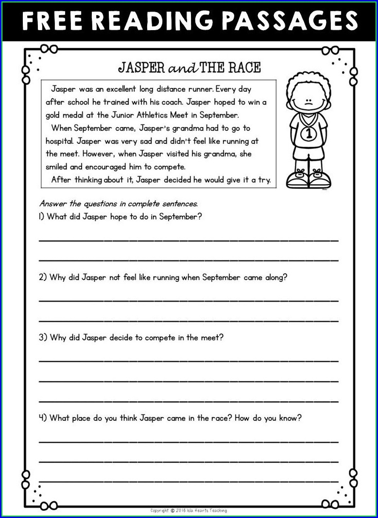 2nd Grade Printable Reading Comprehension Worksheets
