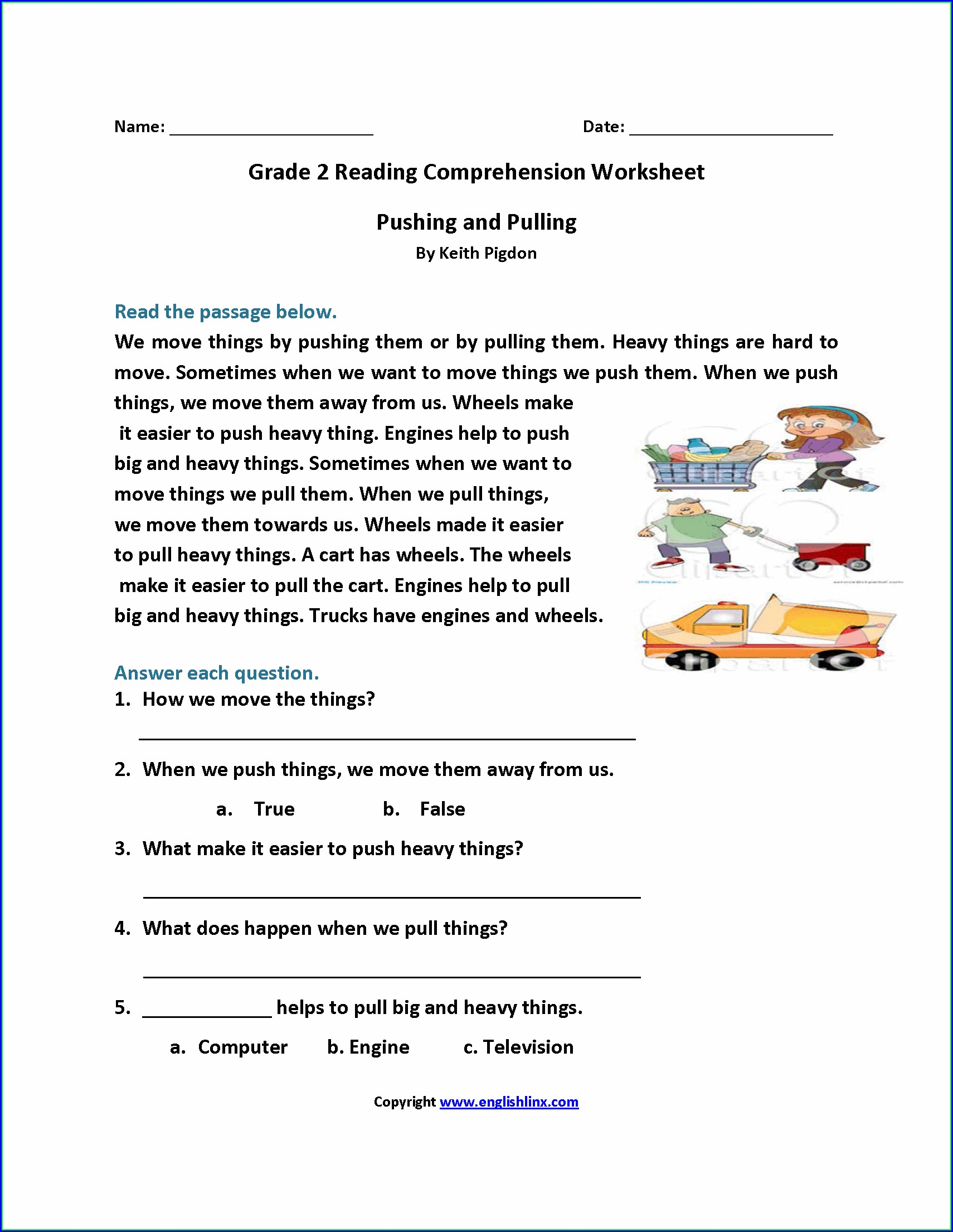 2nd Grade Reading Comprehension Worksheets Pdf