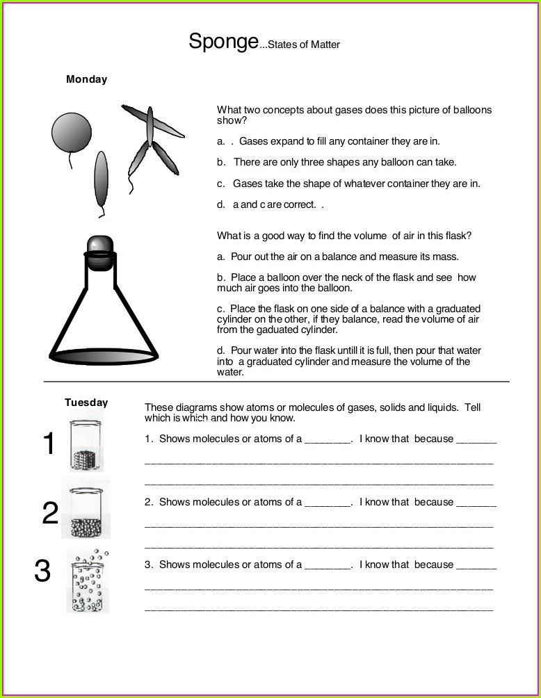 2nd Grade State Of Matter Worksheet For Grade 2