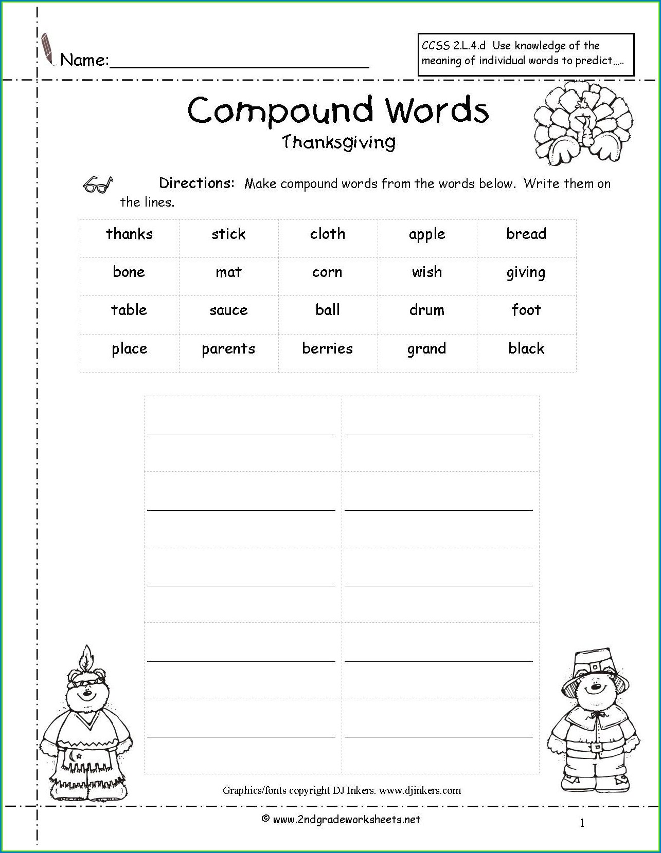 3rd Grade Compound Word Worksheet