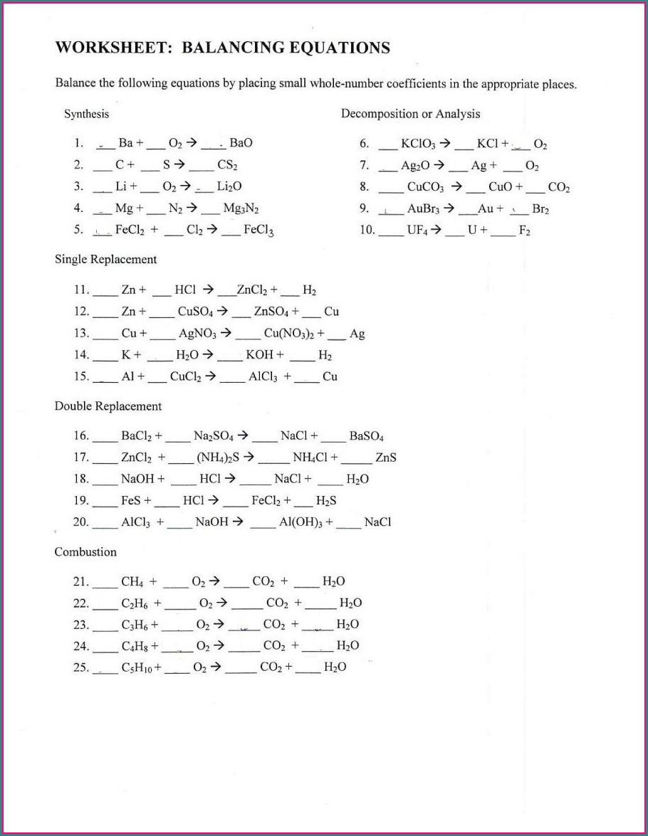 3rd Grade Easy Balancing Equations Worksheet