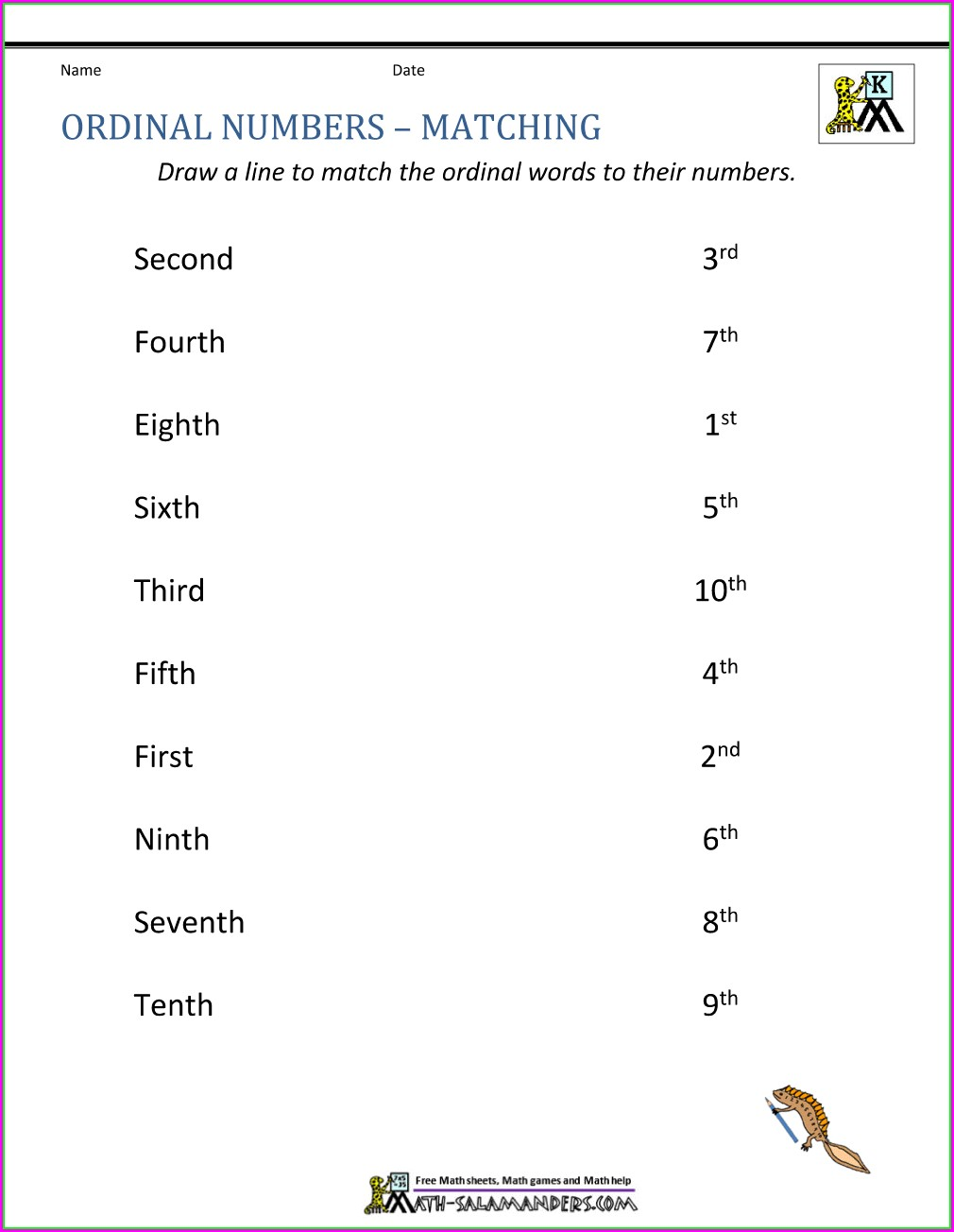 3rd Grade Ordinal Numbers Worksheet Pdf