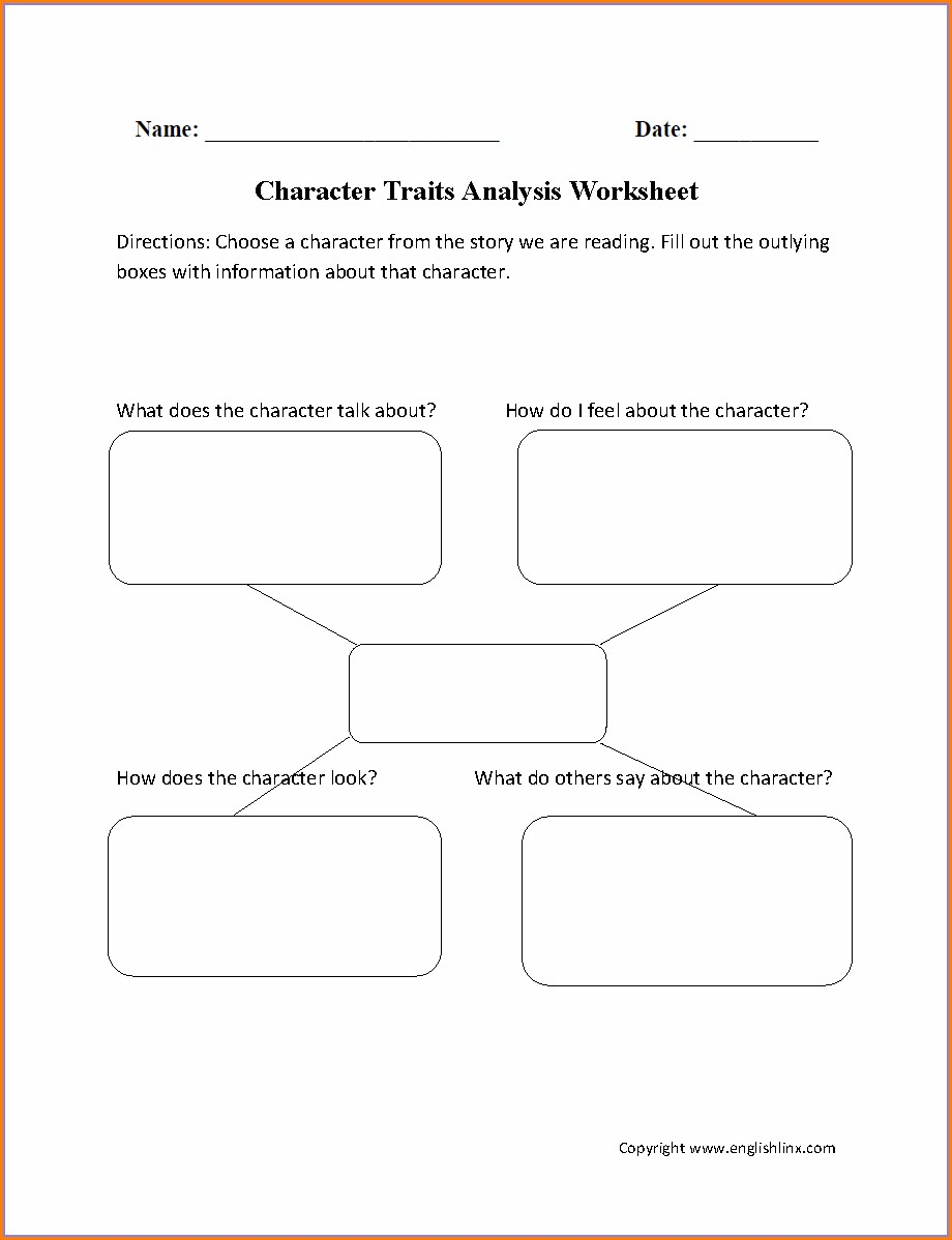 3rd Grade Printable Character Traits Worksheet